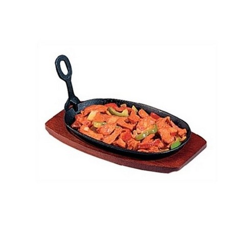 Cast Iron Oval Sizzler with Wooden Stand