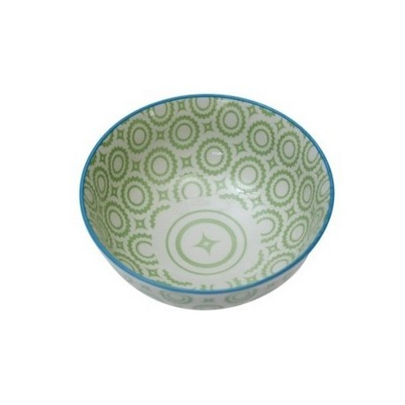 JAPANESE BLOSSOM BOWL GREEN CIRCLES Medium