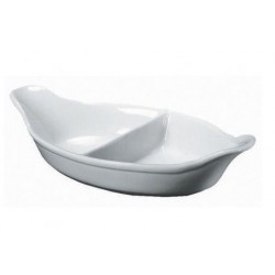 Royal Genware Divided Veg. Dish 28cm White 2 divide