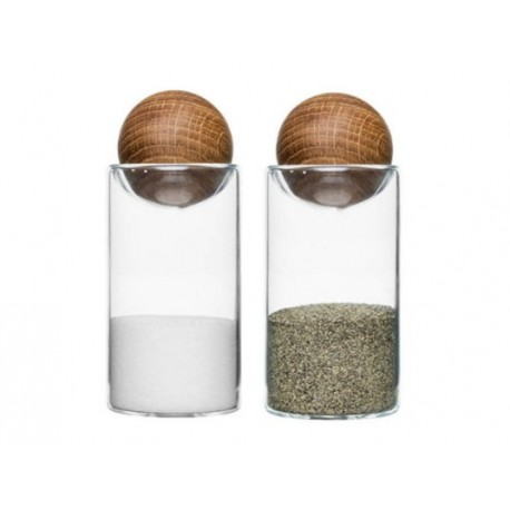 Oval oak salt/-pepper set by Saga Form
